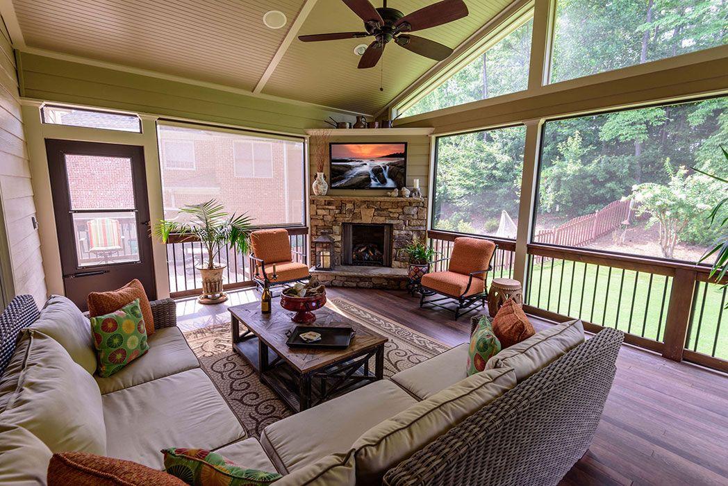Add A Screen Porch With Fireplace Alpharetta Ad B
