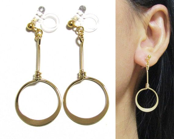 Non Pierced Earrings B8 Long Clip On Dangle Hoop Gold Invisible Ons