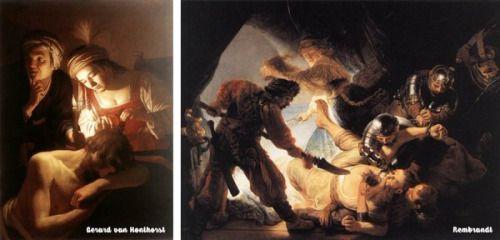 Aynı hikaye, farklı zamanlar, farklı enerji.. Samson&Delilah > Solda Gerard van Honthorst, 1615 Sağda Rembrandt, 1636
