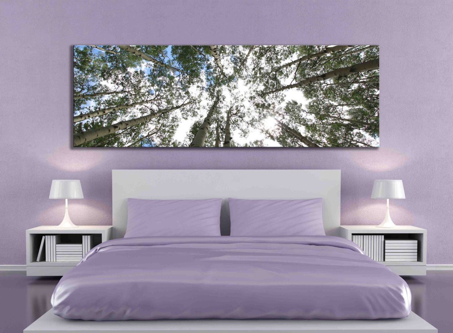 big aspen tree photograph large panoramic canvas print nature home decor over the bed bedroom. Black Bedroom Furniture Sets. Home Design Ideas