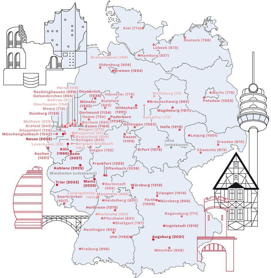 Vozrast Vseh Krupnyh Gorodov Na Karte Germanii Deutschlandkarte