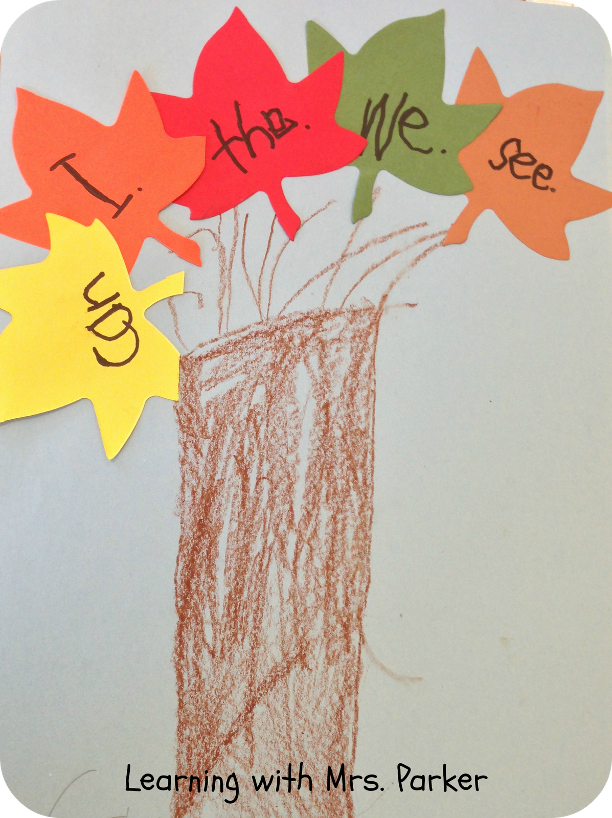 Sight Word Activity Fall Leaves Tree Use For Bulletin