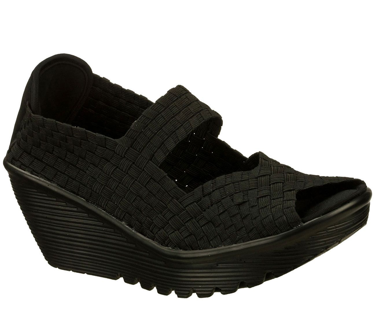 Unmatched comfort and pretty woven style comes in the SKECHERS Cali Parallel  sandal. Soft woven