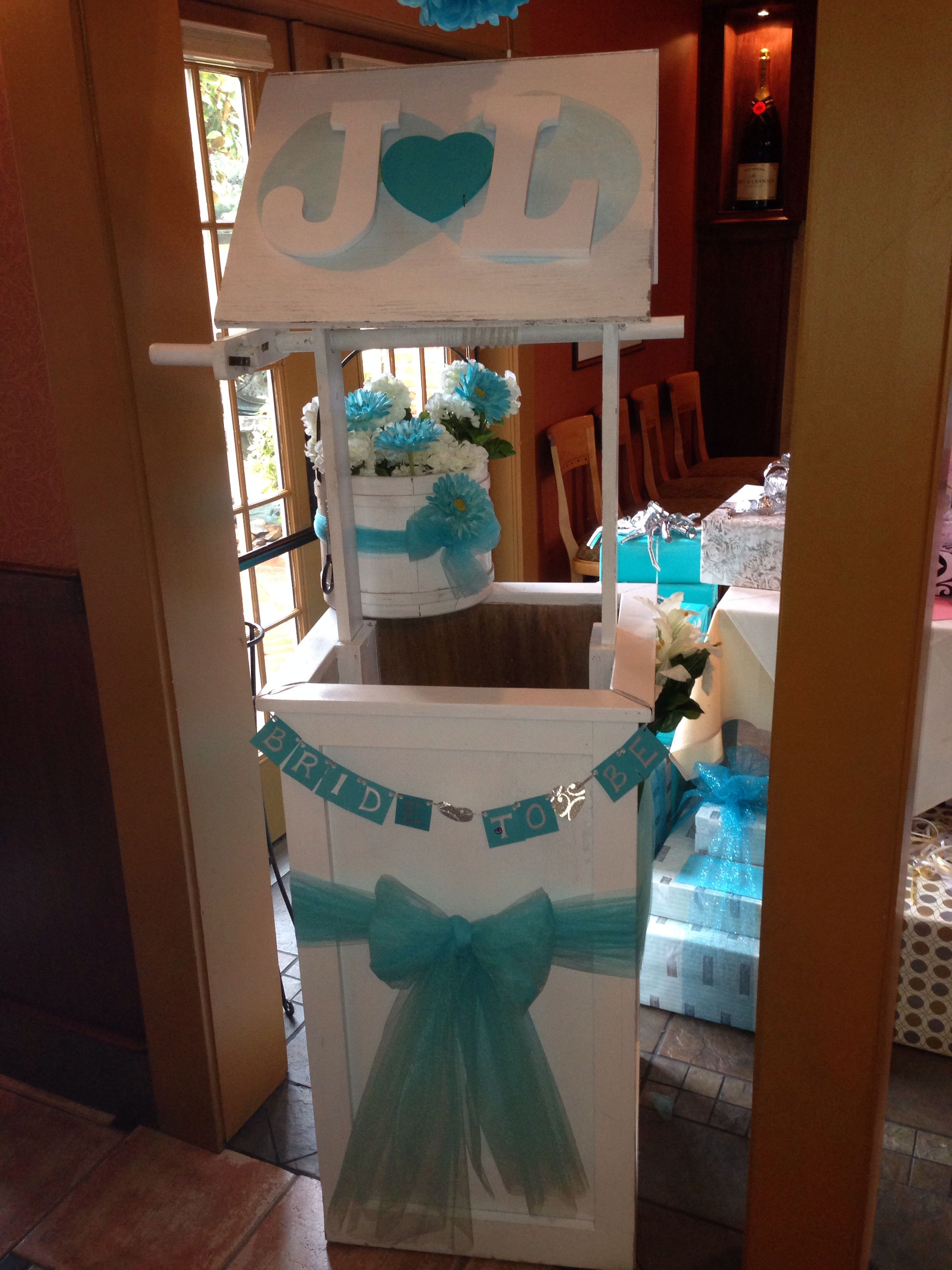Teal bridal shower wishing well | My own creations ...