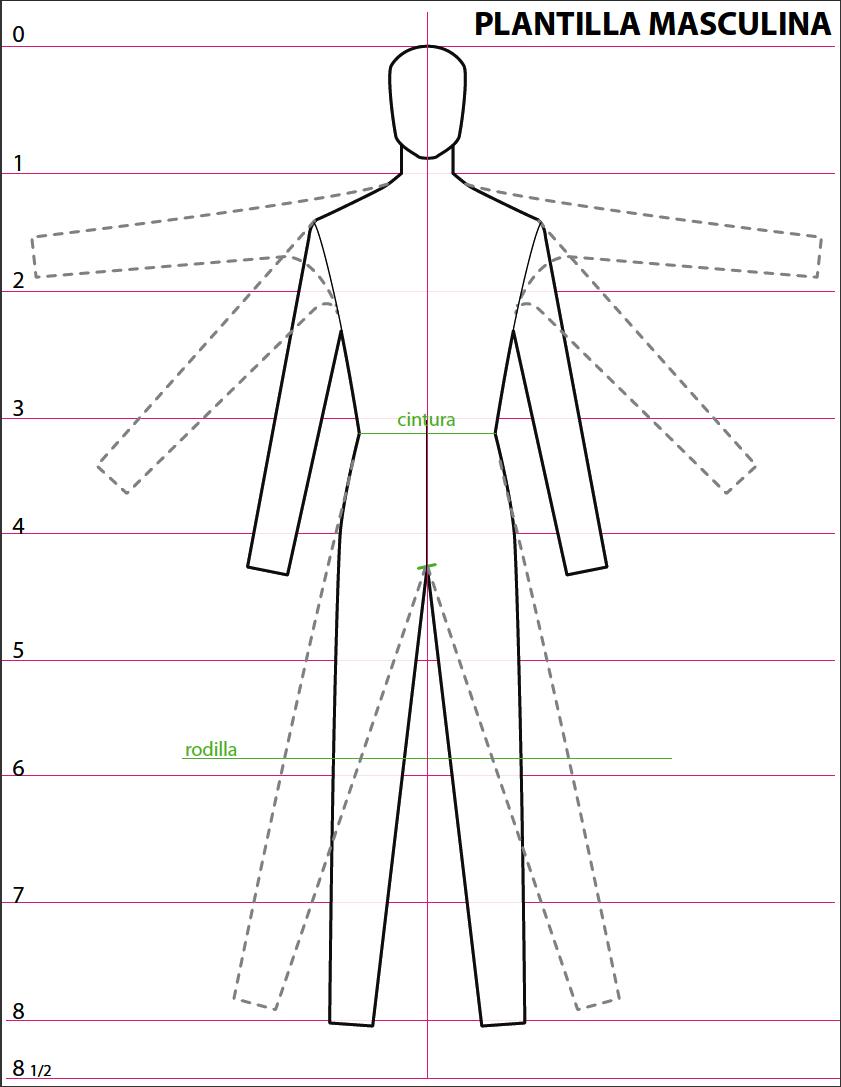 plantilla hombre.png (841×1087)   plantillas, figurin, geometral ...