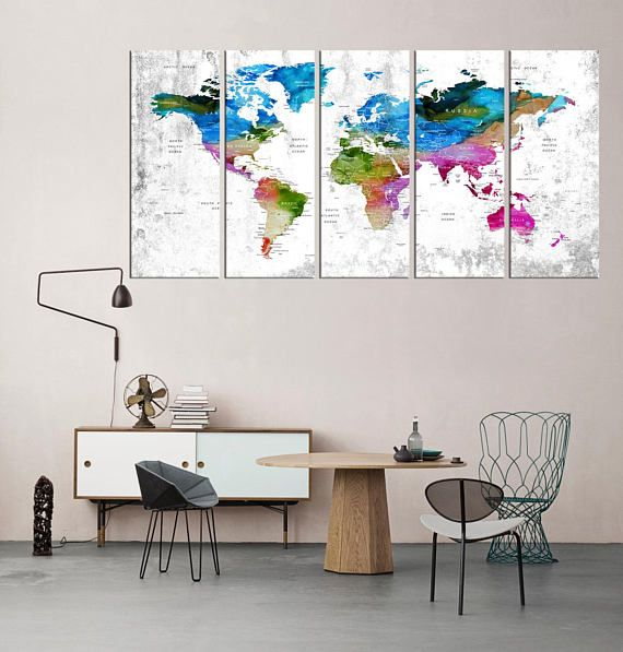 Extra large wall art push pin world map canvas print framed world extra large wall art push pin world map canvas print framed world map print wall decor adventure world map framed set of 5 pieces qn80 gumiabroncs Choice Image