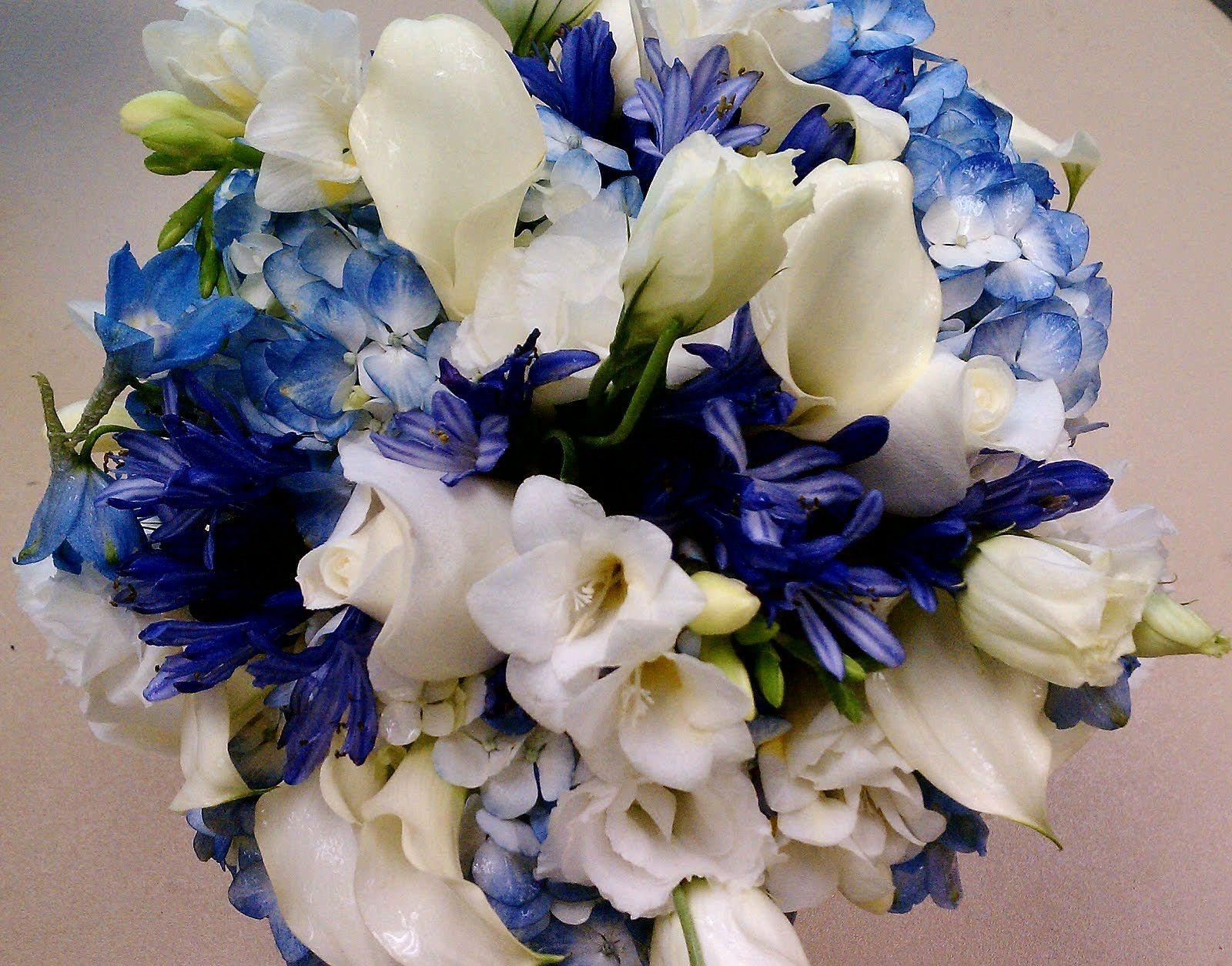 Blue Hydrangea, Blue-Violet Agapanthus, Blue Delphinium ...