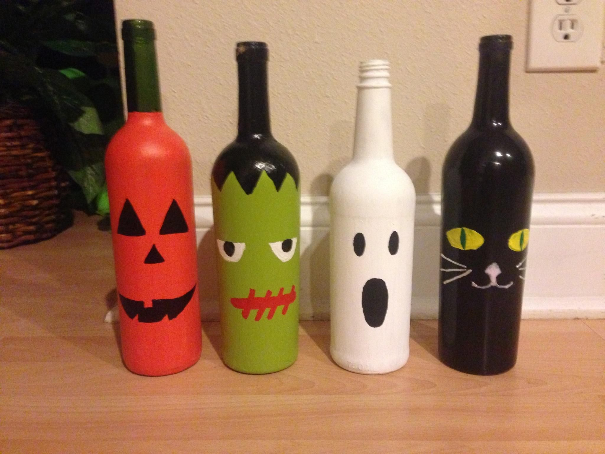 Wine bottle halloween craft project fall pinterest for Wine bottle arts and crafts