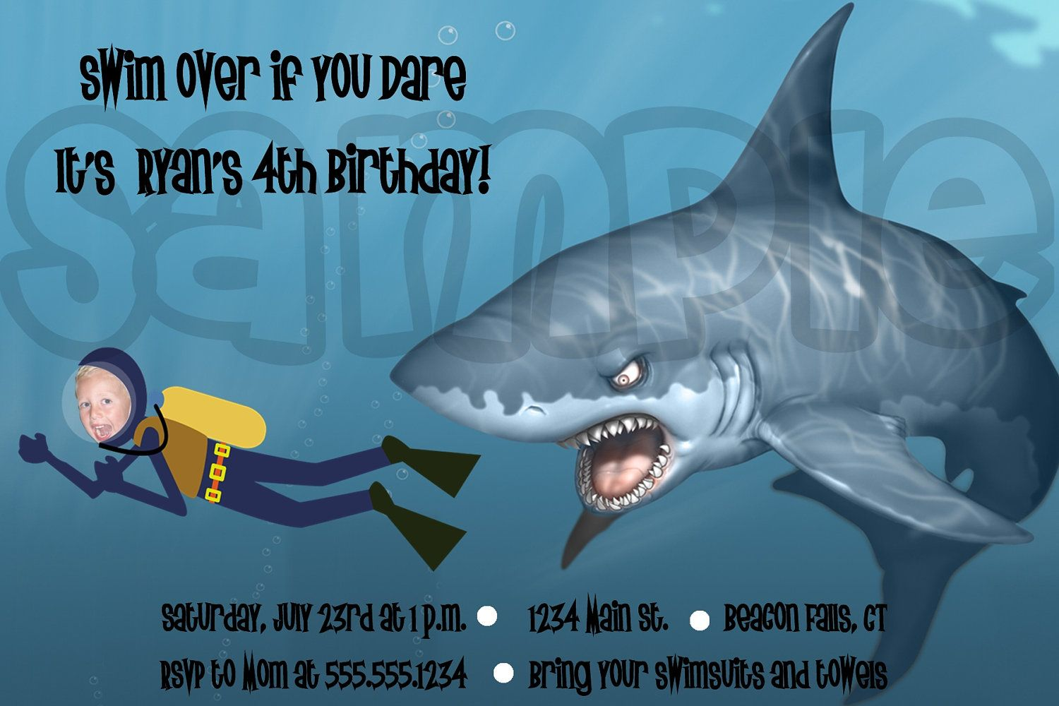 Shark Birthday Party Invitations Shark invite from etsy