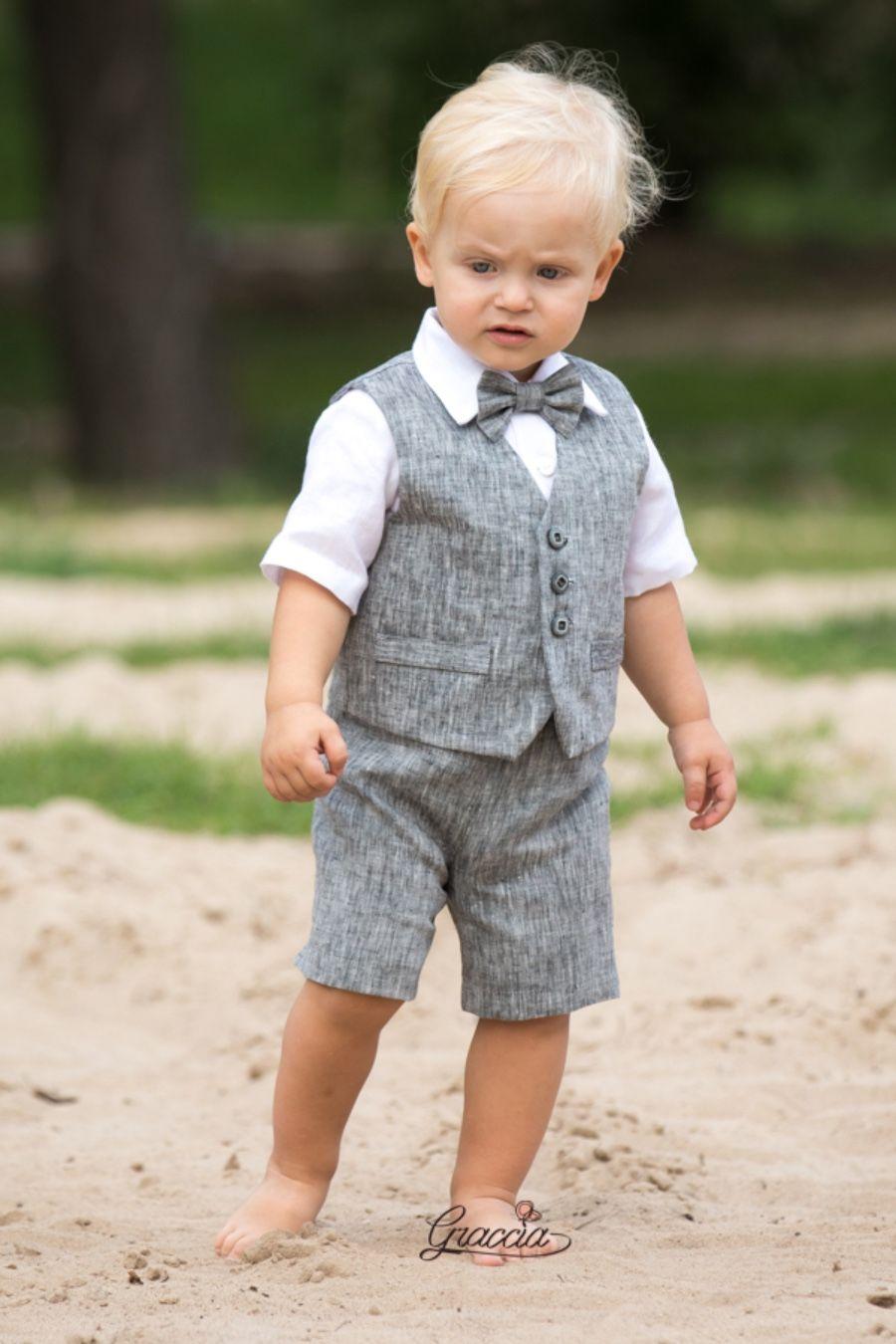 c81b0e3ed Baby boy natural linen suit is a set of 4  shorts