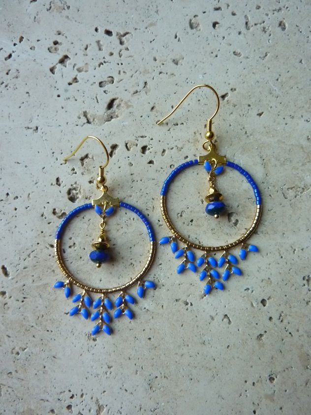 Image of Boucles d'oreille créoles INDIA Cobalt-30%