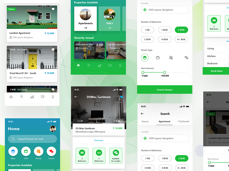 House rental app IphoneX Green Version House, Design