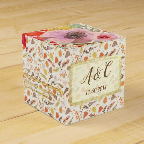 Custom Fall Floral Favor Box