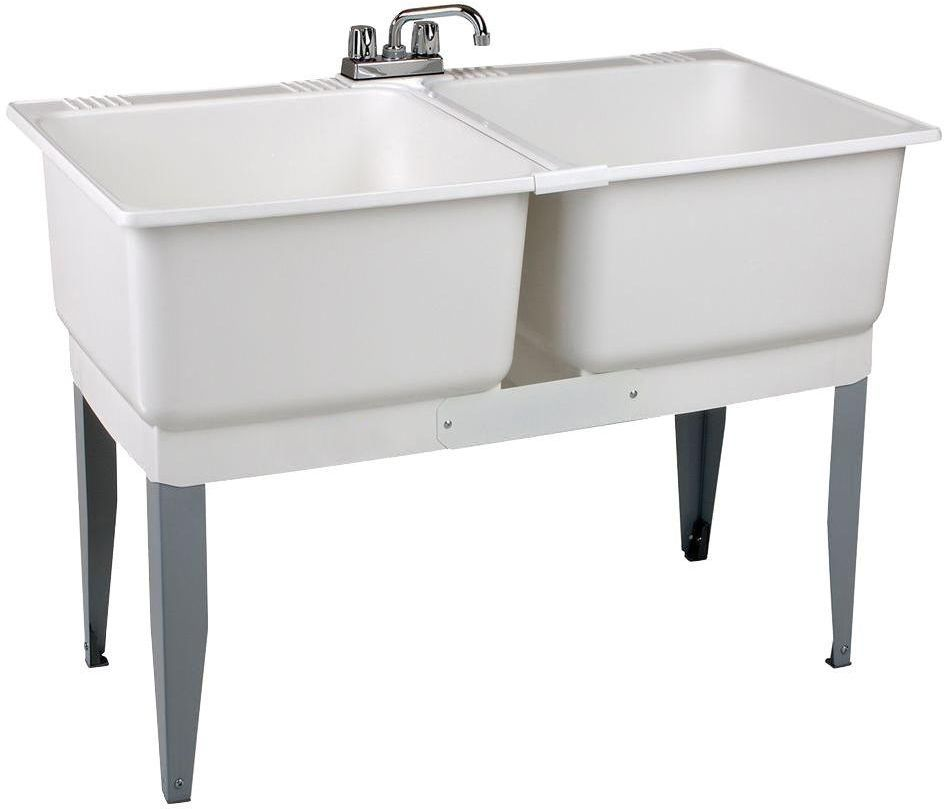 46x34 All In 1 Double 2 Basin White Laundry Sink Tub Utility Bowl