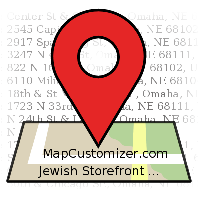Jewish Storefront Map 1  | MapCustomizer.com: Plot multiple locations on Google Maps