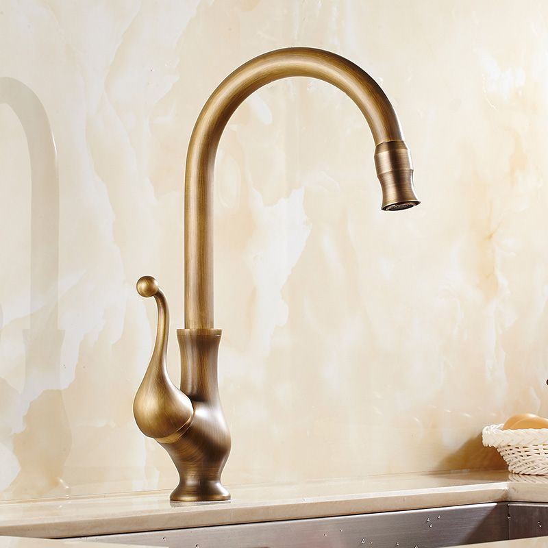 Savio Deck Mounted Single Handle Antique Brass Kitchen Sink Faucet