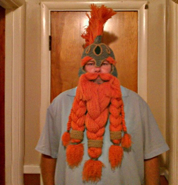 04ec8f29f42 I want one of these for DnD! Crocheted Viking Dwarf Hat with Beard ...