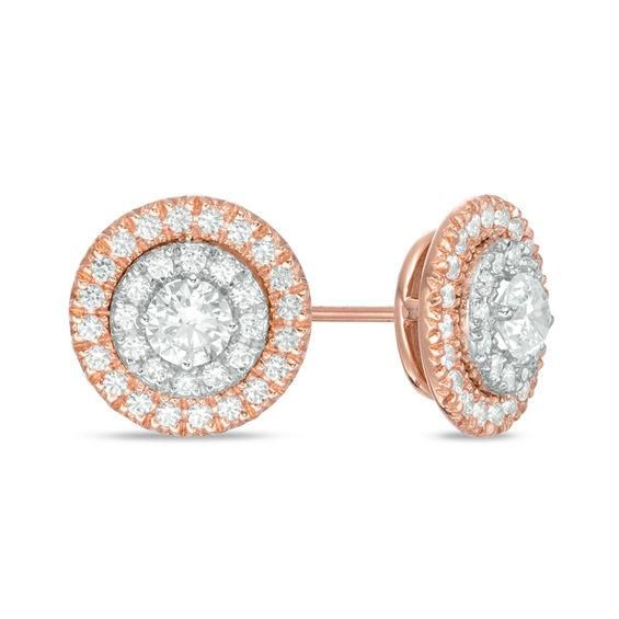 Image result for 1 CT. T.W. Diamond Double Frame Stud Earrings in 10K Two-Tone Gold