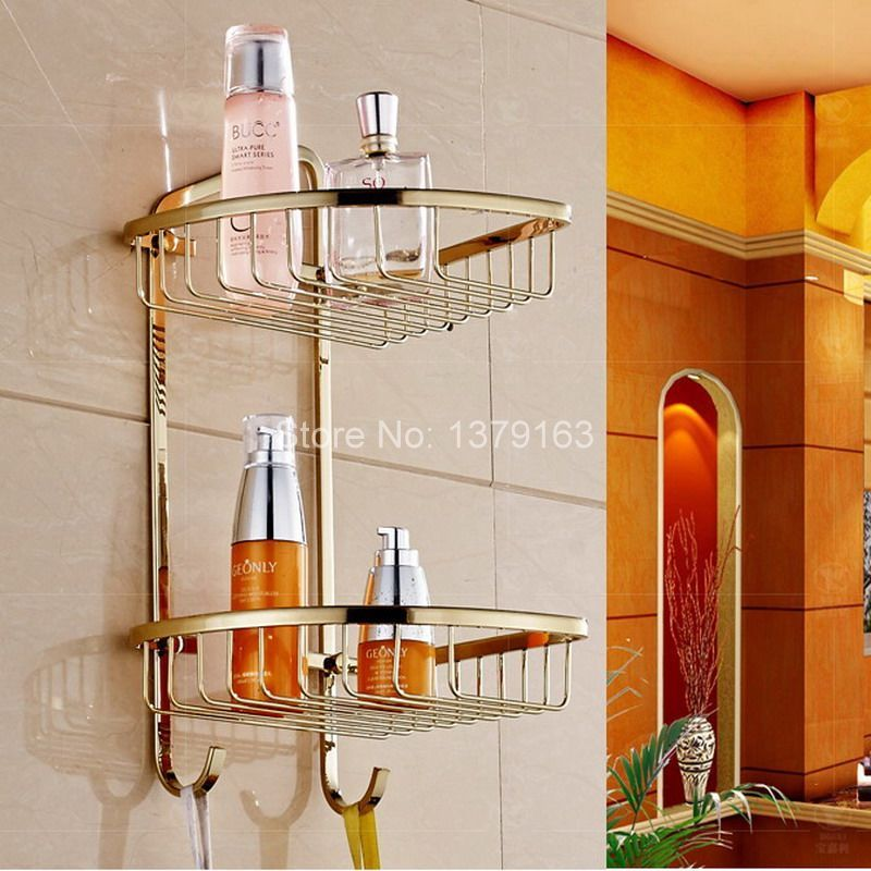 Luxury Gold Color Brass Wall Mounted Bathroom Accessory Bath Dual Tier Large Corner Shower Storage Basket Aba Shower Storage Bathroom Accessories Corner Shower