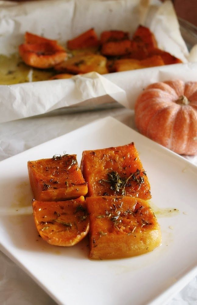Oven roasted chestnut pumpkin with thyme
