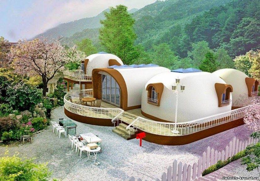 Uma bela casa construída com a técnica superadobe.