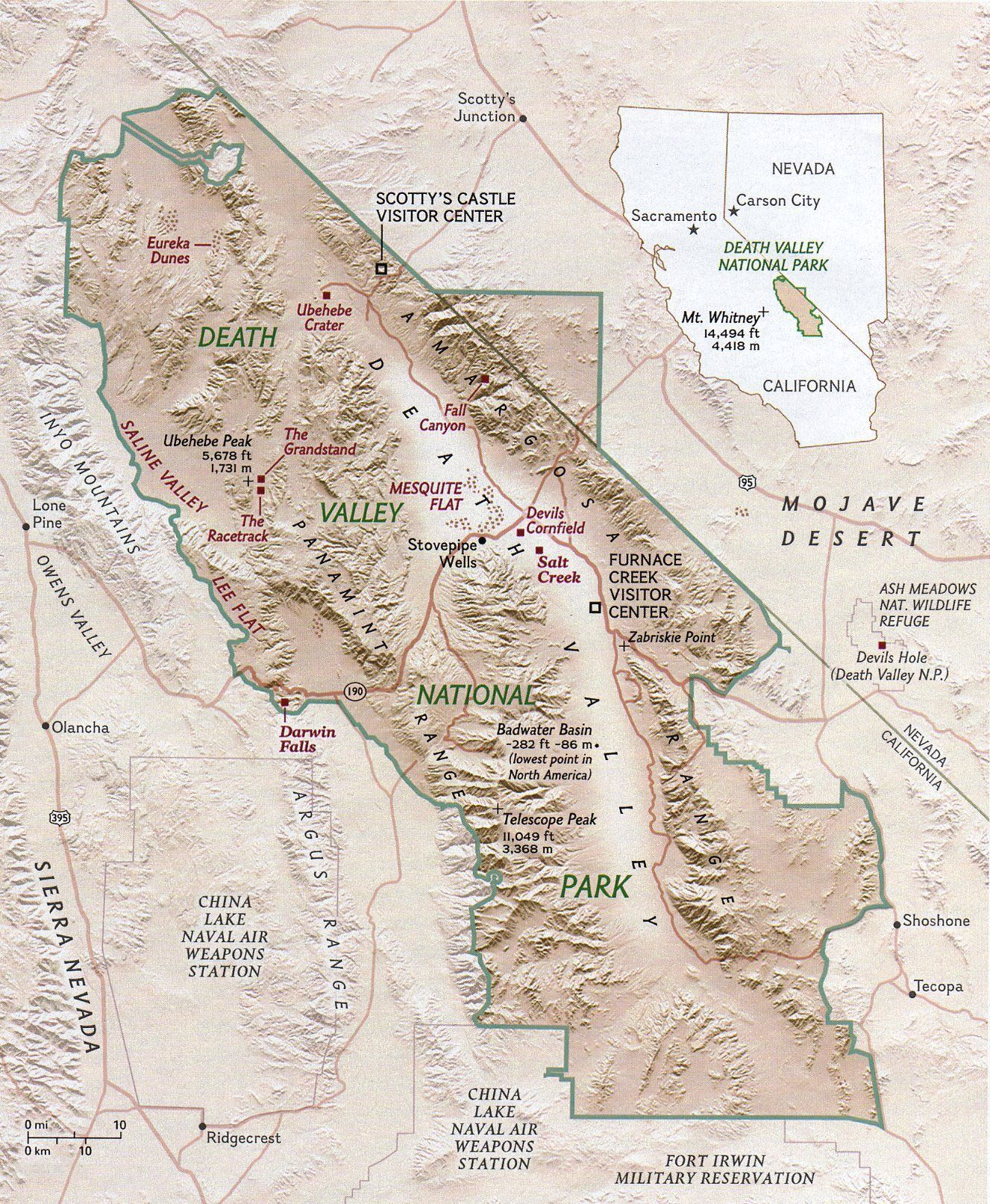 Death Valley National Park Map - Death Valley california • mappery ...