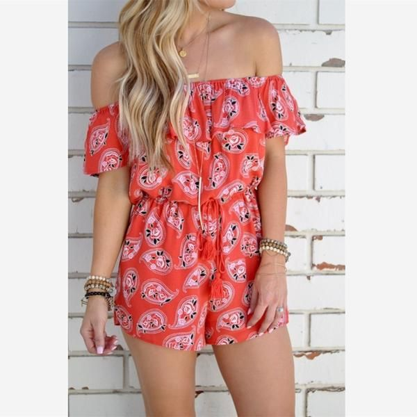 0607f7fded1 Summer New Hot Sales Printed Slash Neck Women Short Jumpsuits - Lupsona