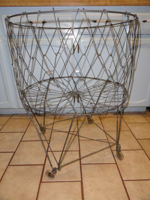 vintage metal laundry cart basket wheels by