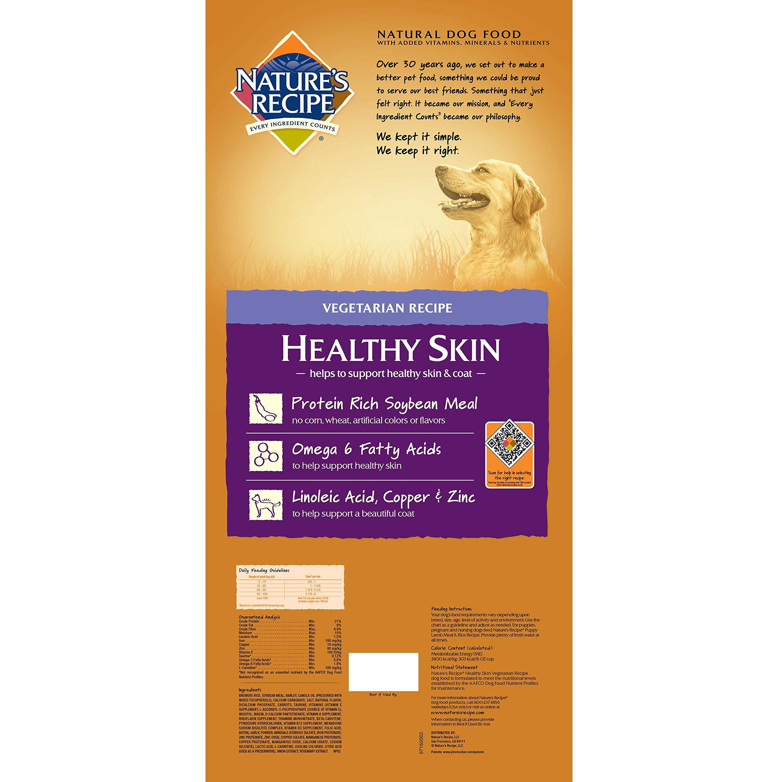 Natures Recipe Healthy Skin Dry Dog Food Vegetarian Recipe 30pound