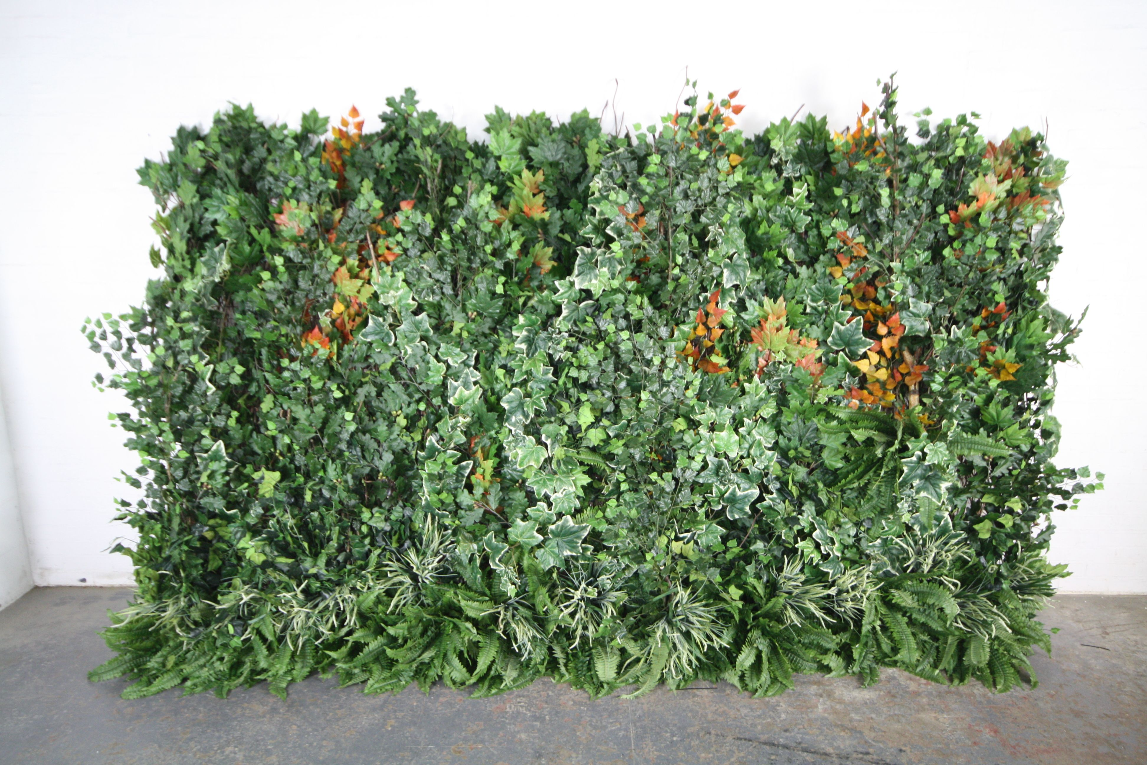 Artificial Garden Green Wall With A Mixture Of Artificial Ivies,