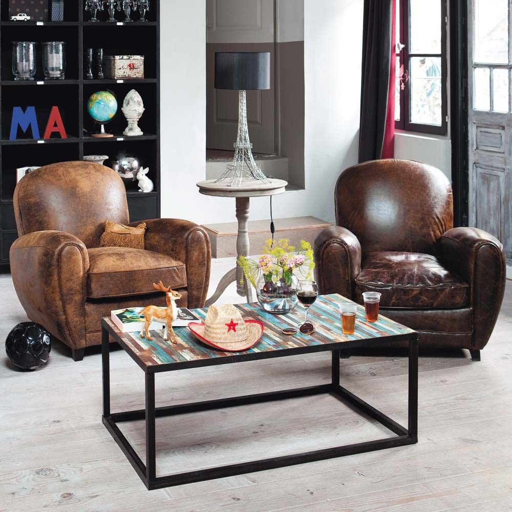 Leather Sofa Upholstery Liverpool: Fauteuil Club En Cuir Marron