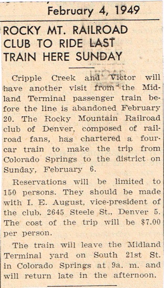 February 4, 1949: Rocky Mt  Railroad Club to Ride Last Train