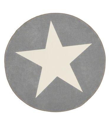 Tähtitrio-yleismatto, ø 133 cm, harmaa-valkoinen