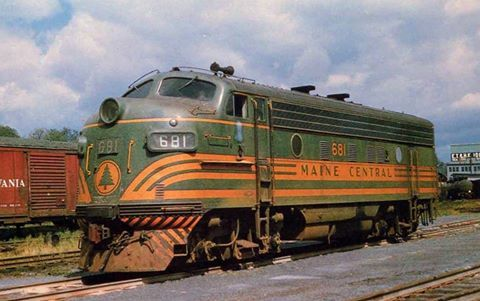 Maine Central F3A #681 at St. Johnsbury, Vermont at the western end of its fabled Mountain Division during August of 1964. Richard Wallin photo.