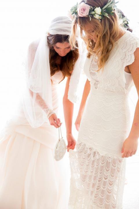 Bohemian Wedding Inspiration / White Crochet Bridesmaid