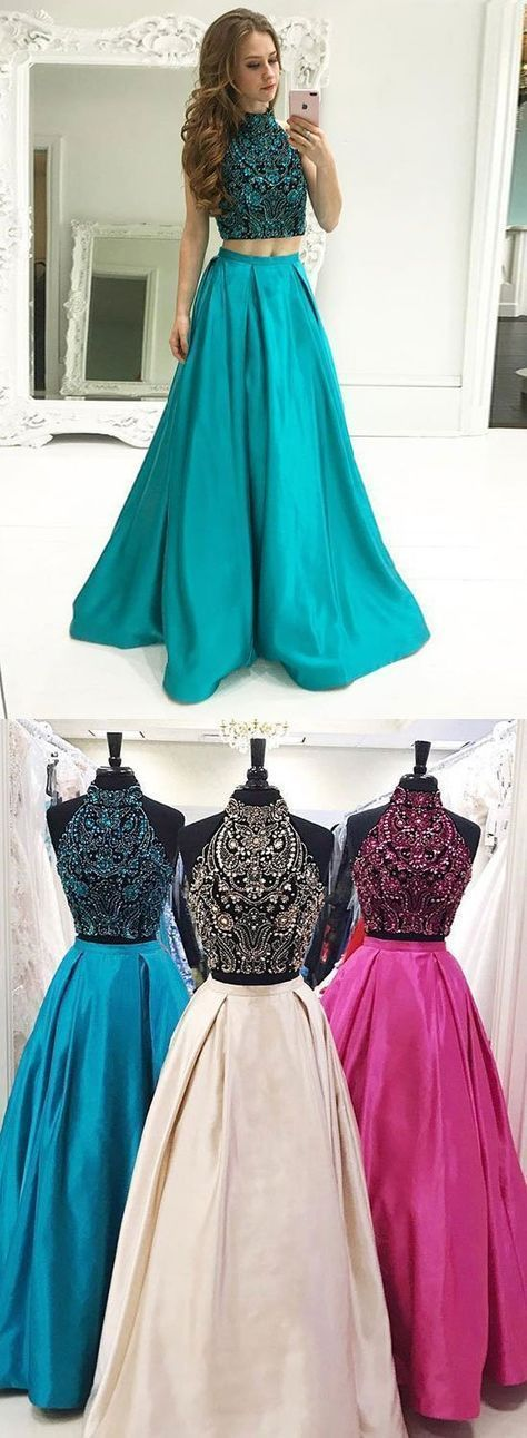 003bdb51b7bb Two Piece High Neck Floor-Length Turquoise Satin Prom Dress by PrettyLady,  $178.13 USD