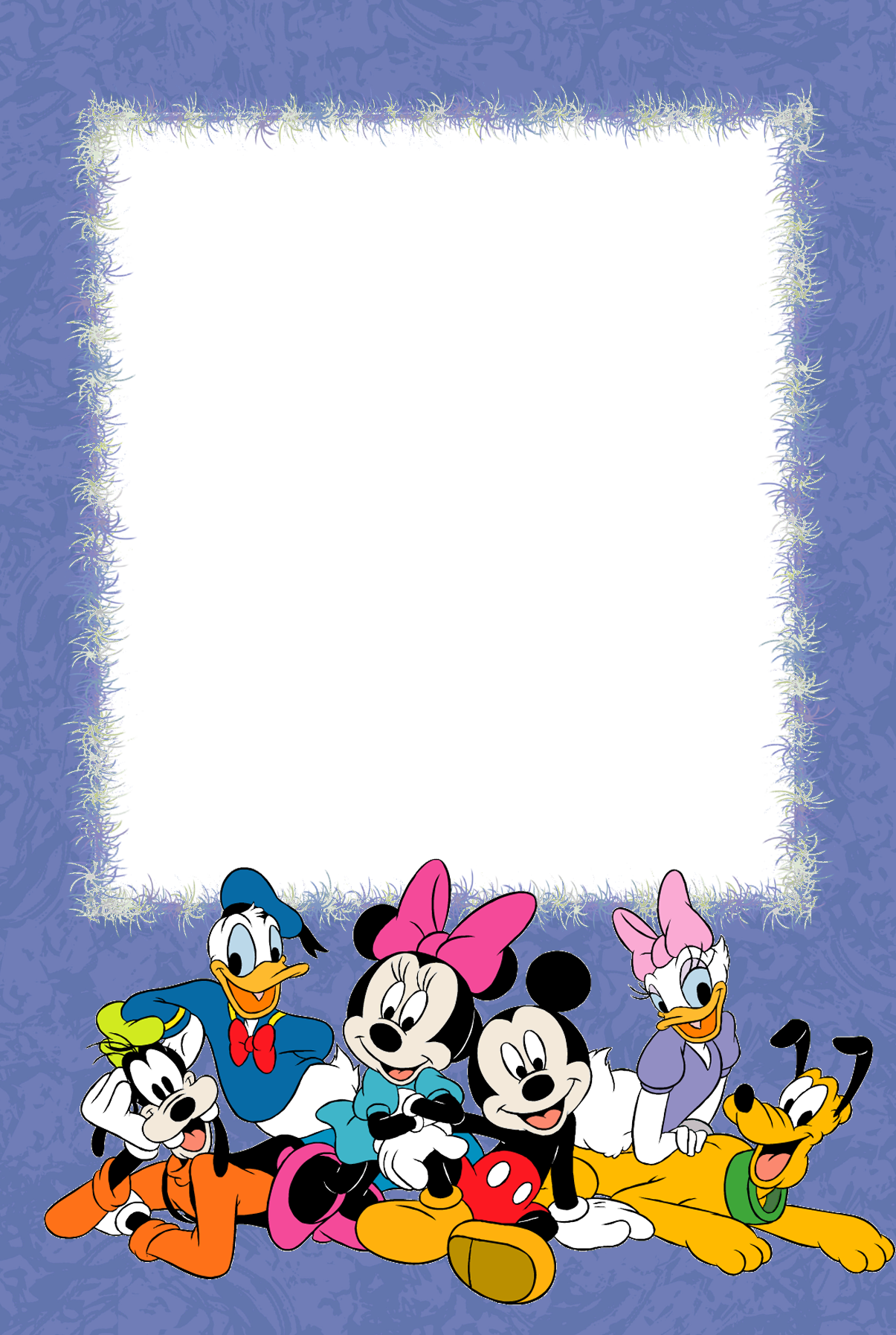 Border Design Disney Character : Purple png kids photo frame with disney characters