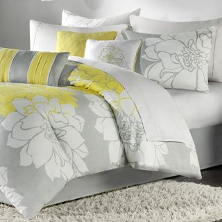 Madison park brianna grey and yellow flower printed cotton comforter comforter sets for less mightylinksfo Image collections
