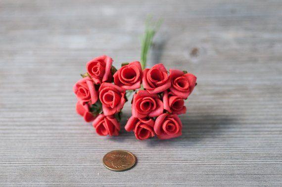 12 Small Red Roses Foam Flowers Miniature Foam Roses Craft Flowers