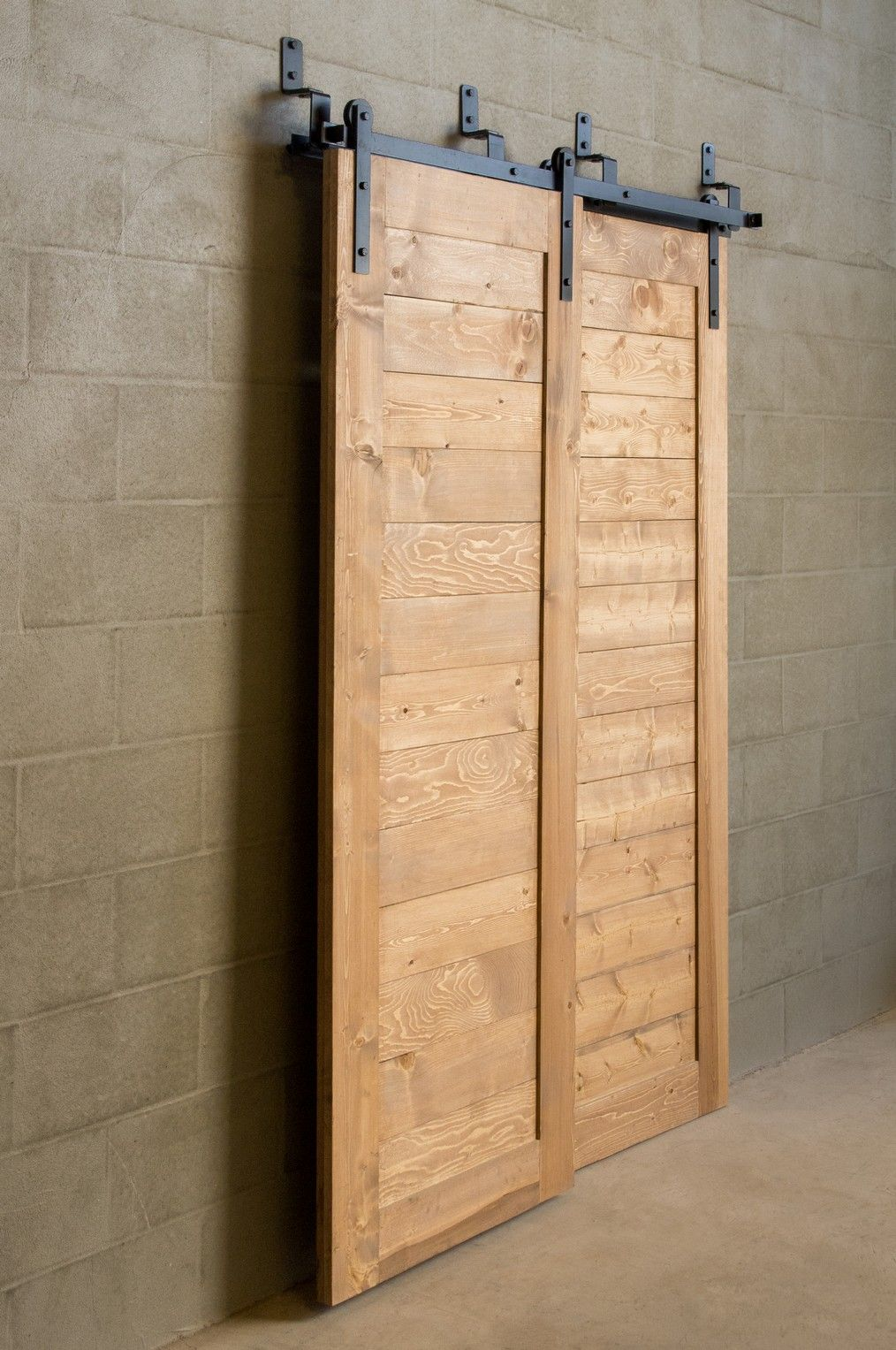 Bypass sliding barn door for tight spaces 625 hardware for Barn door closet door ideas