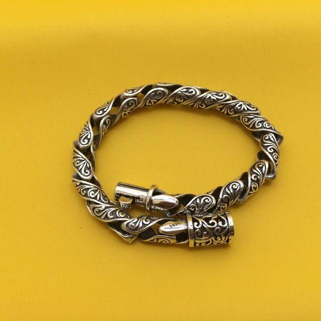 1cb9f2c7caa1 925 pulsera de plata para hombre de trenzado joyería Vintage con dinastía  Tang diseño de la flor 19 a 70 cm con cierre de hebilla