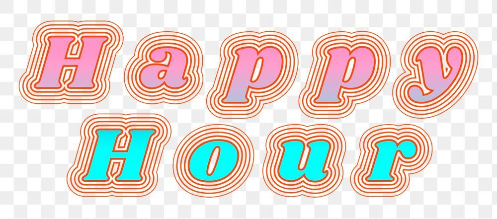 Happy Hour Png Retro Font Typography Free Image By Rawpixel Com Baifern Retro Font Typography Fonts Typography