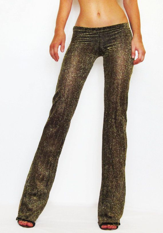 749c504bc701b Custom Bohemian Gold Sparkle Glitter Black Mesh by CrescentAbove Sexy see-through  pants made of