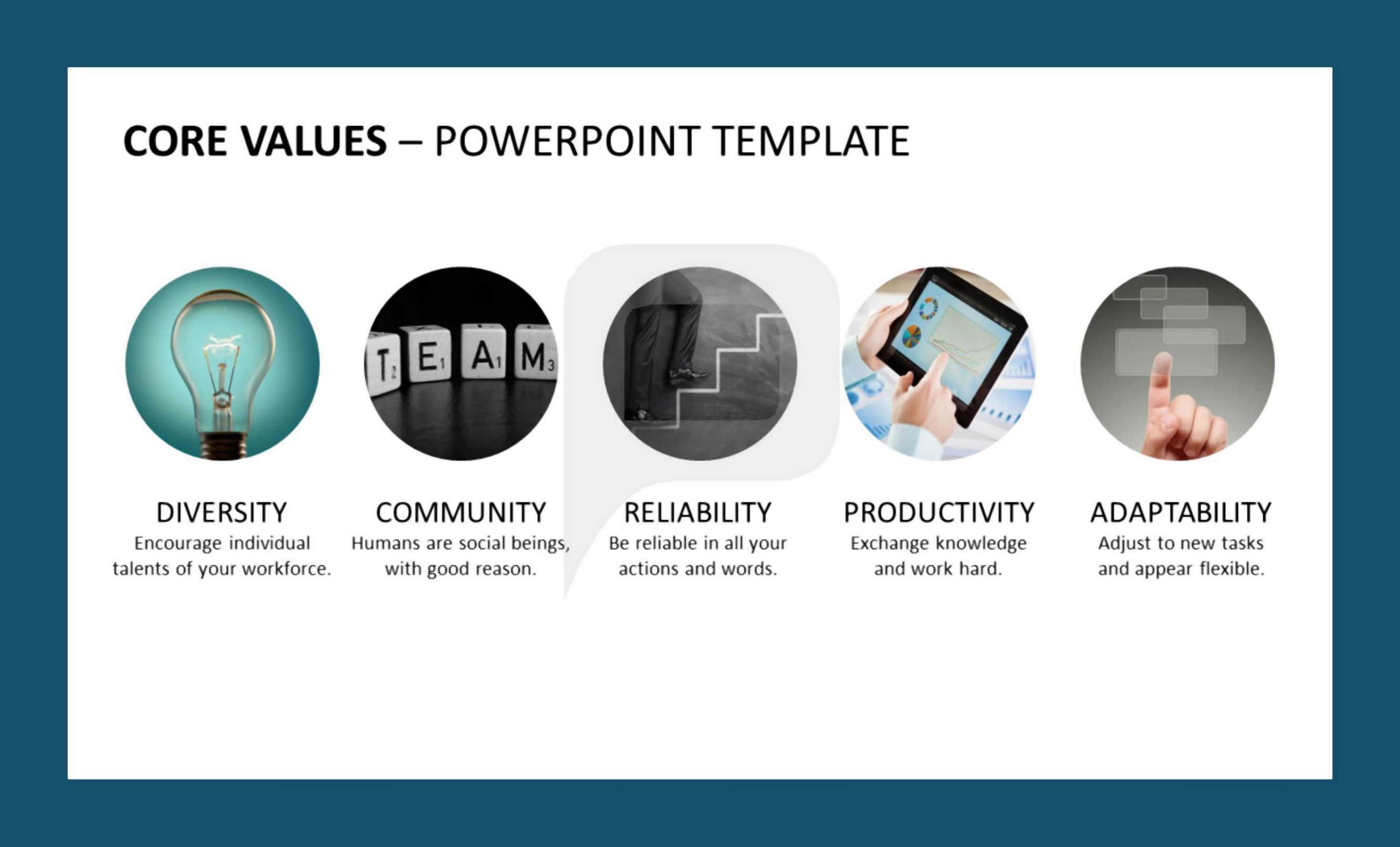 use our new powerpoint template set upon the topic of company core