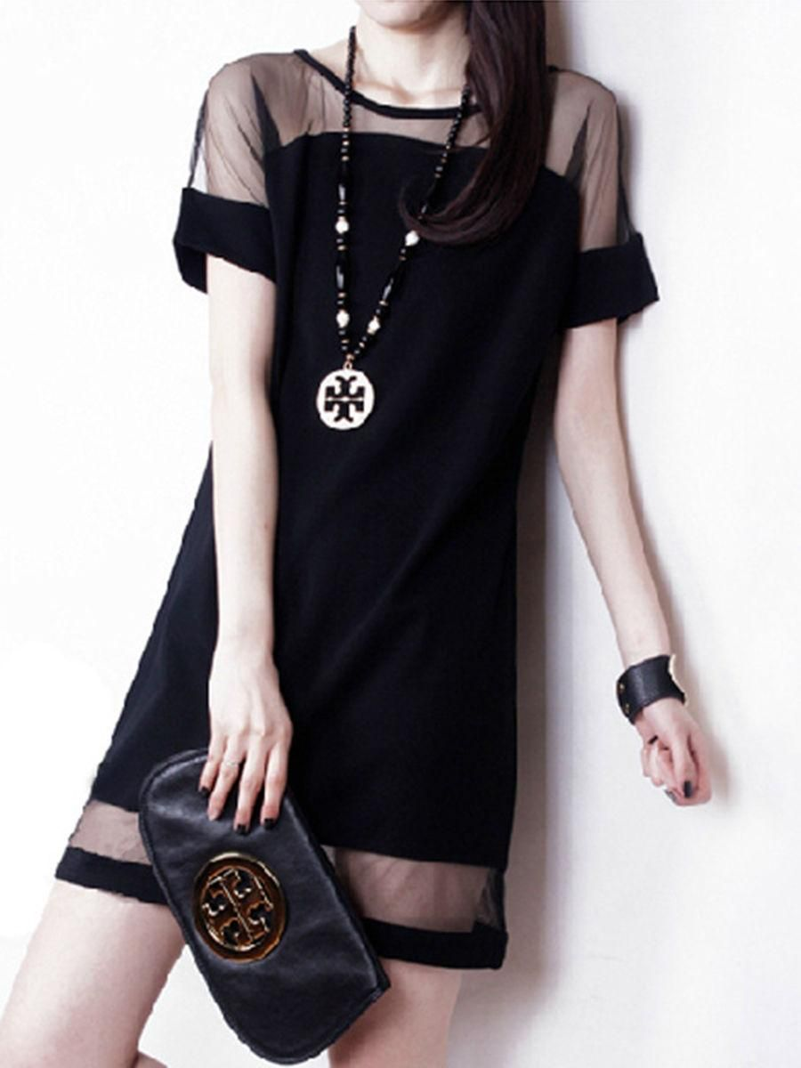 Seethrough plain round neck shift dress