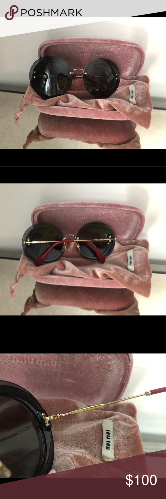 c3be6c18799 Mui Mui Round sunglasses Mui Mui Round sunglasses pre-loved and only used  about 2-3 times great condition....... Miu Miu Accessories Sunglasses
