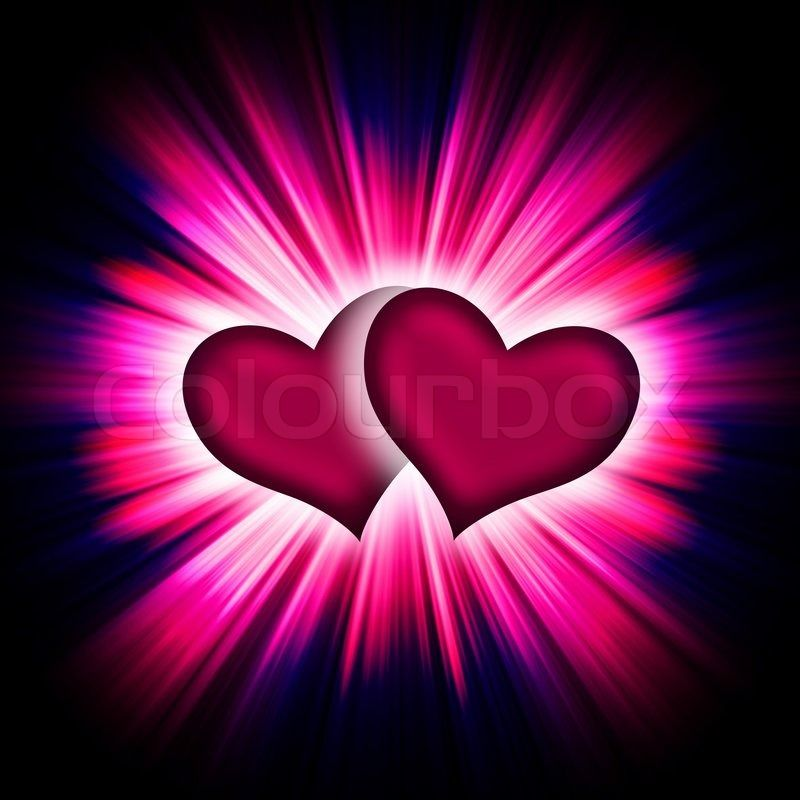 Red heart with rays on a black background, abstract | Stock
