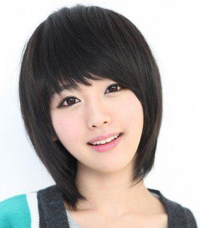 gooaction sweet cute short straight oblique bangs black