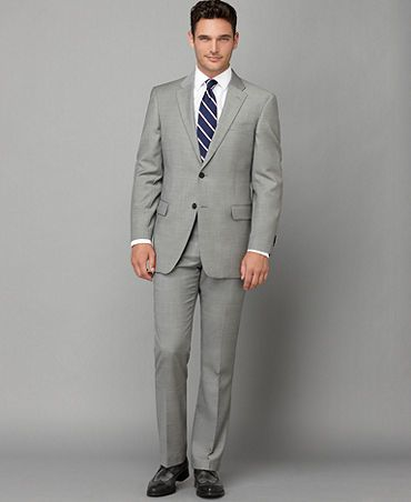 Macy's Tommy Hilfiger Suit Separates, Grey Sharkskin Slim Fit ...