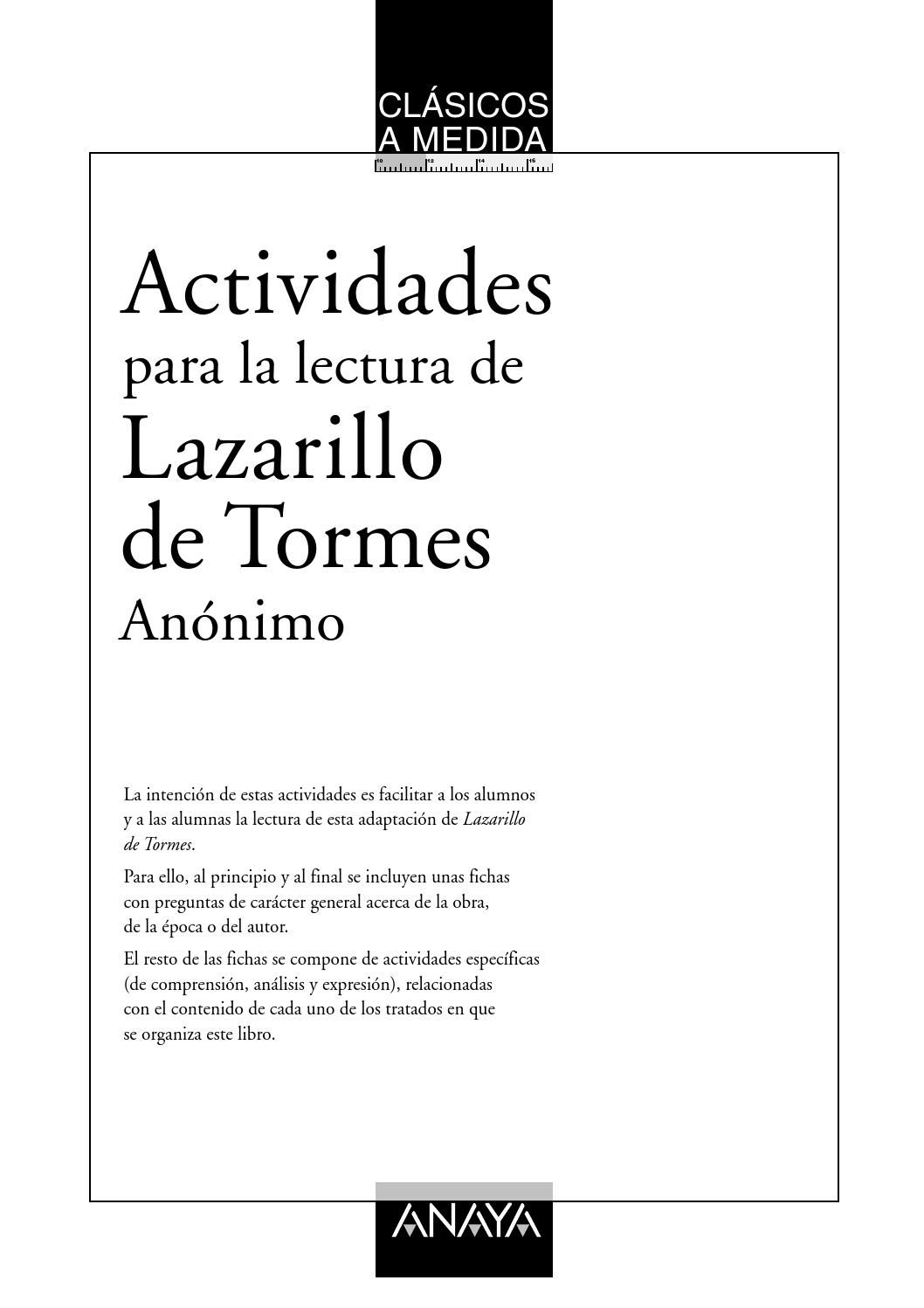El Lazarillo De Tormes Actividades Anaya Lazarillo De Tormes Actividades De Lectura Clases De Literatura